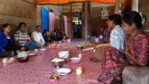Having meal together during the women fellowship