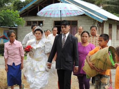 Walking from the church to village hall