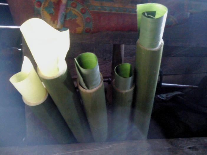 Bamboo is ready to fill with sticky rice
